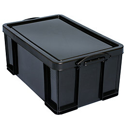 Really Useful Black 64L Plastic Storage Box