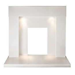 Hilton Sparkly White Micro Marble Fire Surround Set