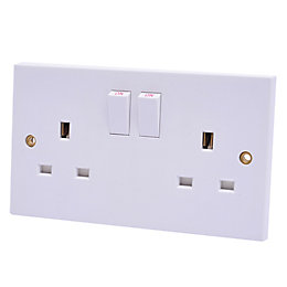 Propower 13A 2-Gang White Switched Socket