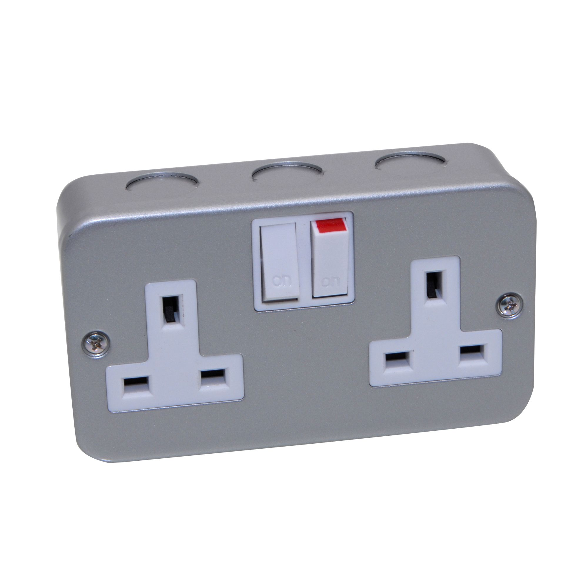 Pro Power 13a Metal Clad Switched Double Socket