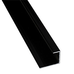 Splashwall Black Shower Panelling End Cap (L)2.42m