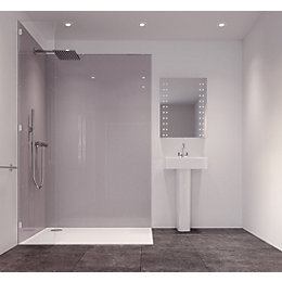 Splashwall Metallic Grey Single Shower Panel (L)2420mm (W)585mm