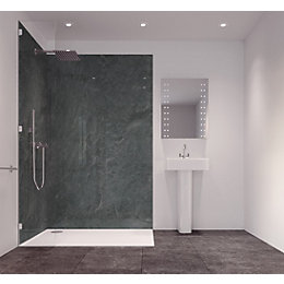 Splashwall Charcoal Single Shower Panel (L)2420mm (W)585mm