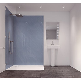 Splashwall Sky Blue Single Shower Panel (L)2420mm (W)585mm