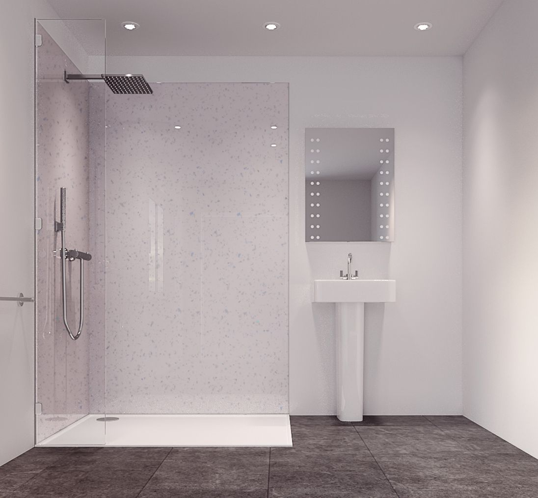 Plastic sheets for bathroom walls - Splashwall Star Dust Single Shower Panel L 2420mm W 585mm