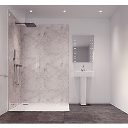 Splashwall Tuscan White Single Shower Panel (L)2420mm (W)585mm