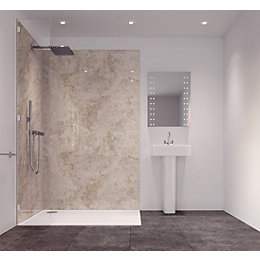Splashwall Tuscan Grey Single Shower Panel (L)2420mm (W)585mm