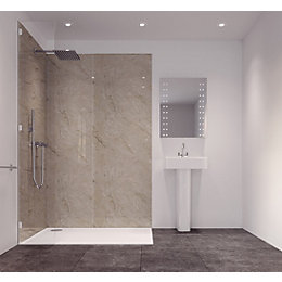Splashwall Tuscan Natural Single Shower Panel (L)2420mm (W)585mm
