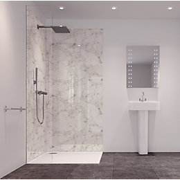 Splashwall Tuscan White 2 Sided Shower Panelling Kit