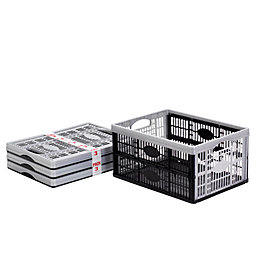 Black & Silver 32L Plastic Folding Crate, Pack