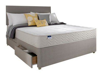 Silentnight miracoil memory fibre super king size mattress for Super king divan set