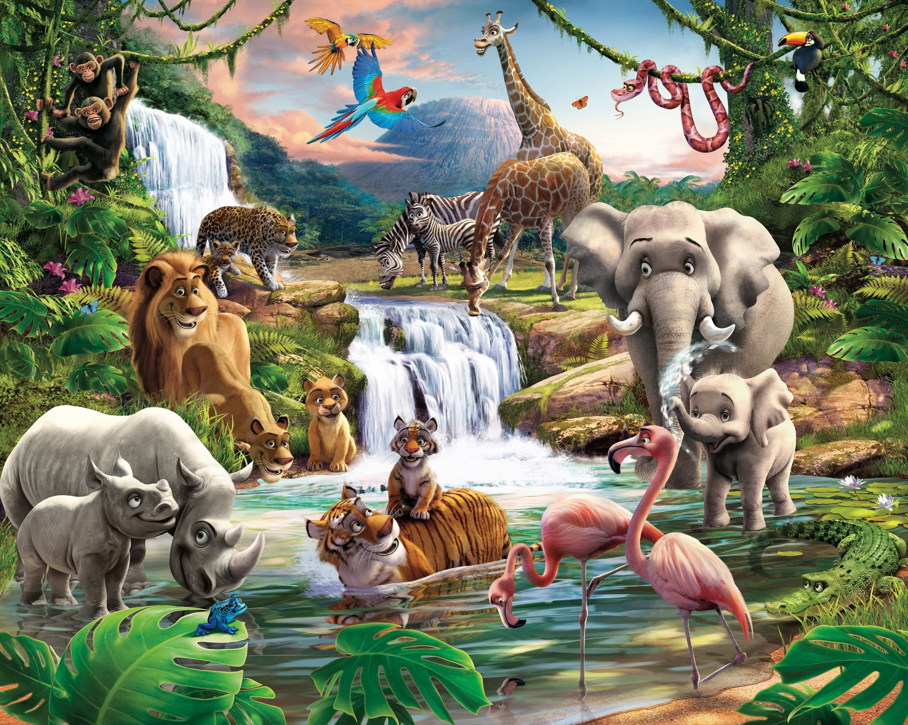 Jungle adventure wall mural departments diy at b q for Animal wall mural