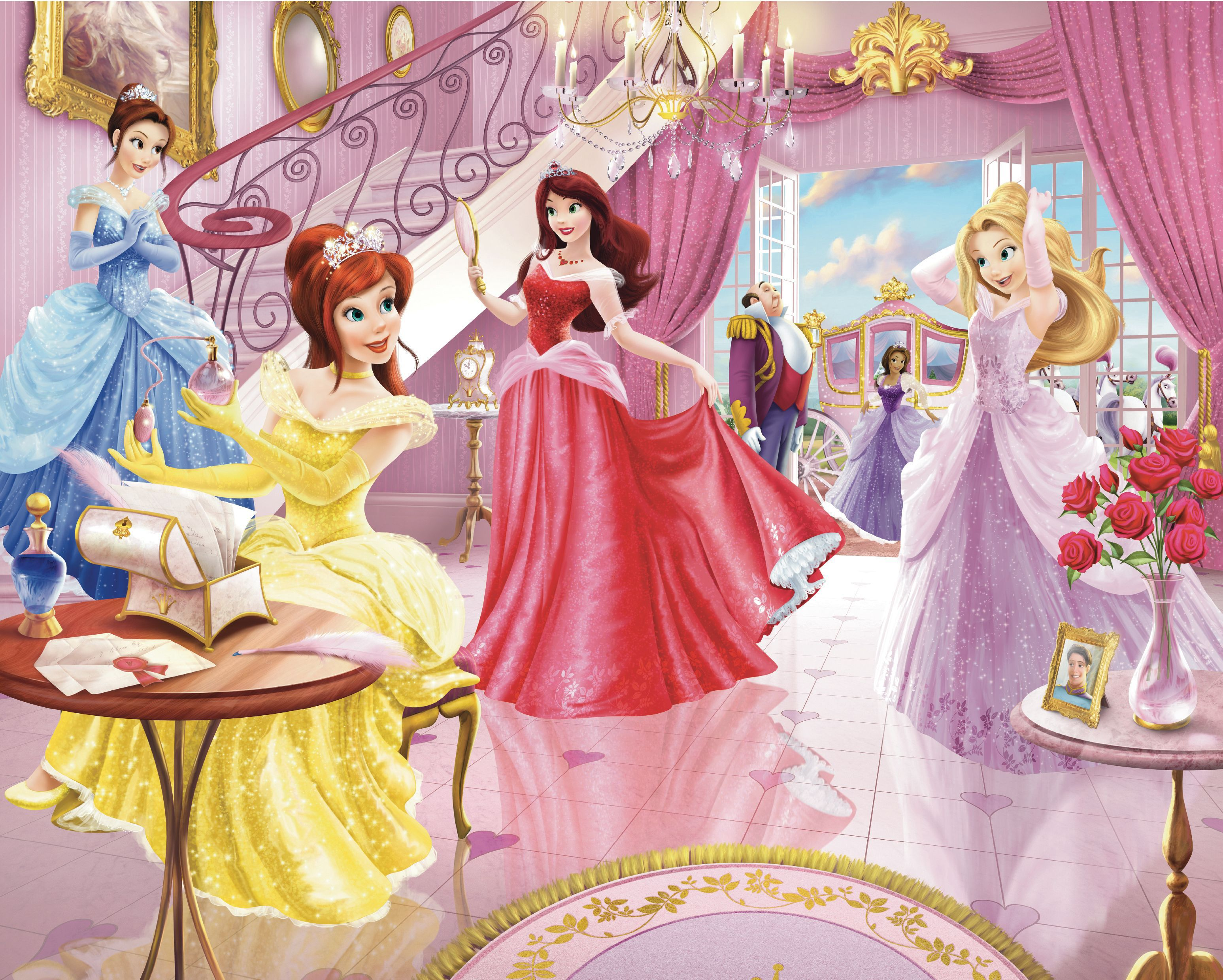 Walltastic disney fairy princess wall mural departments for Disney princess wallpaper mural