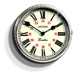 Jones Piccadilly Traditional Silver Wall Clock