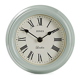 Jones Frankie Roman Numeral Duck Egg Blue Clock