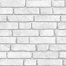Muriva White Brick Wall Wallpaper