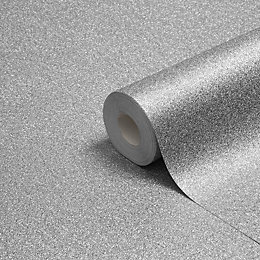 Muriva Sparkle Silver Texture Metallic Glitter Wallpaper