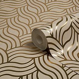 Muriva Precious Silks Gold Geometric Metallic Wallpaper