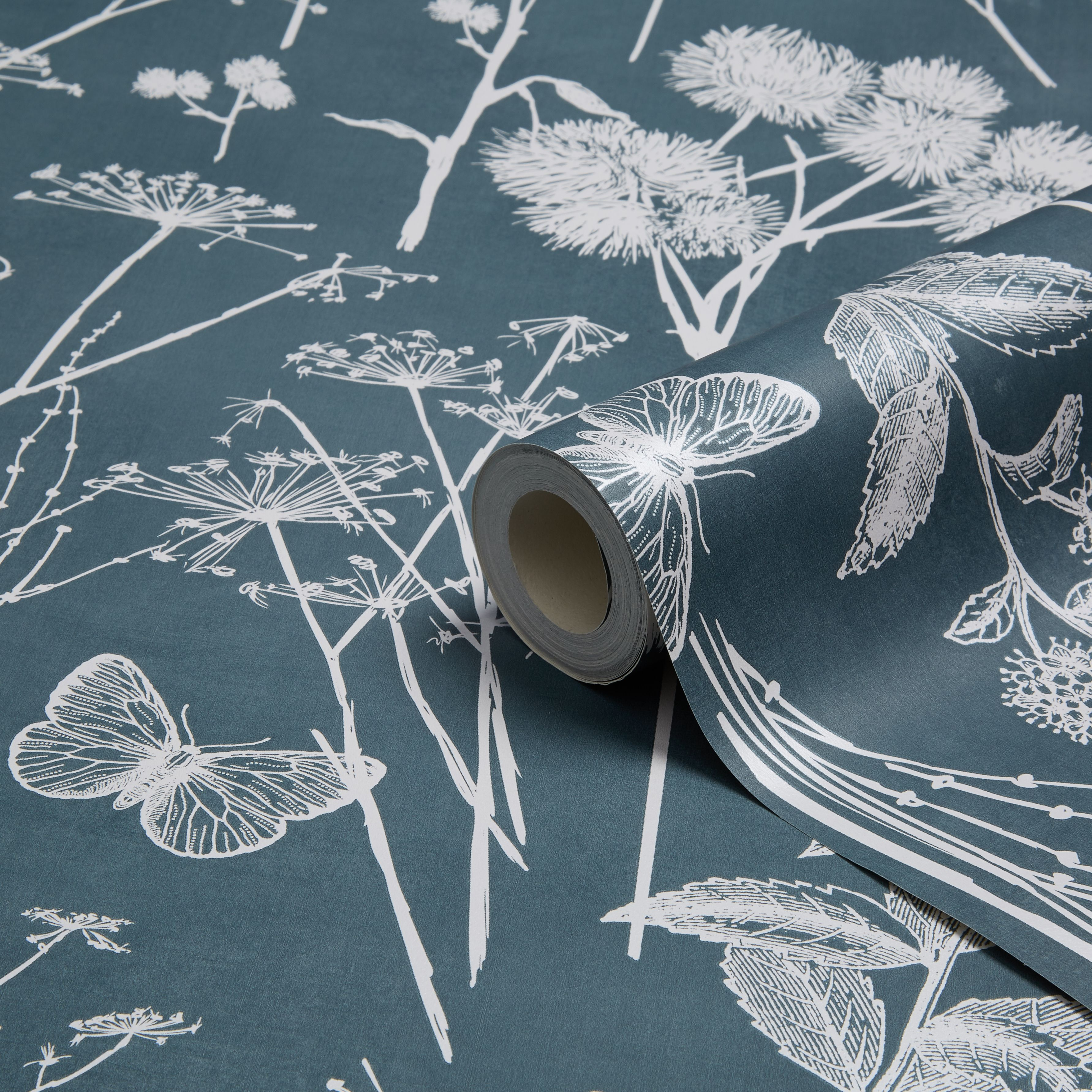 Muriva Botanical Blackboard Teal Foliage Wallpaper