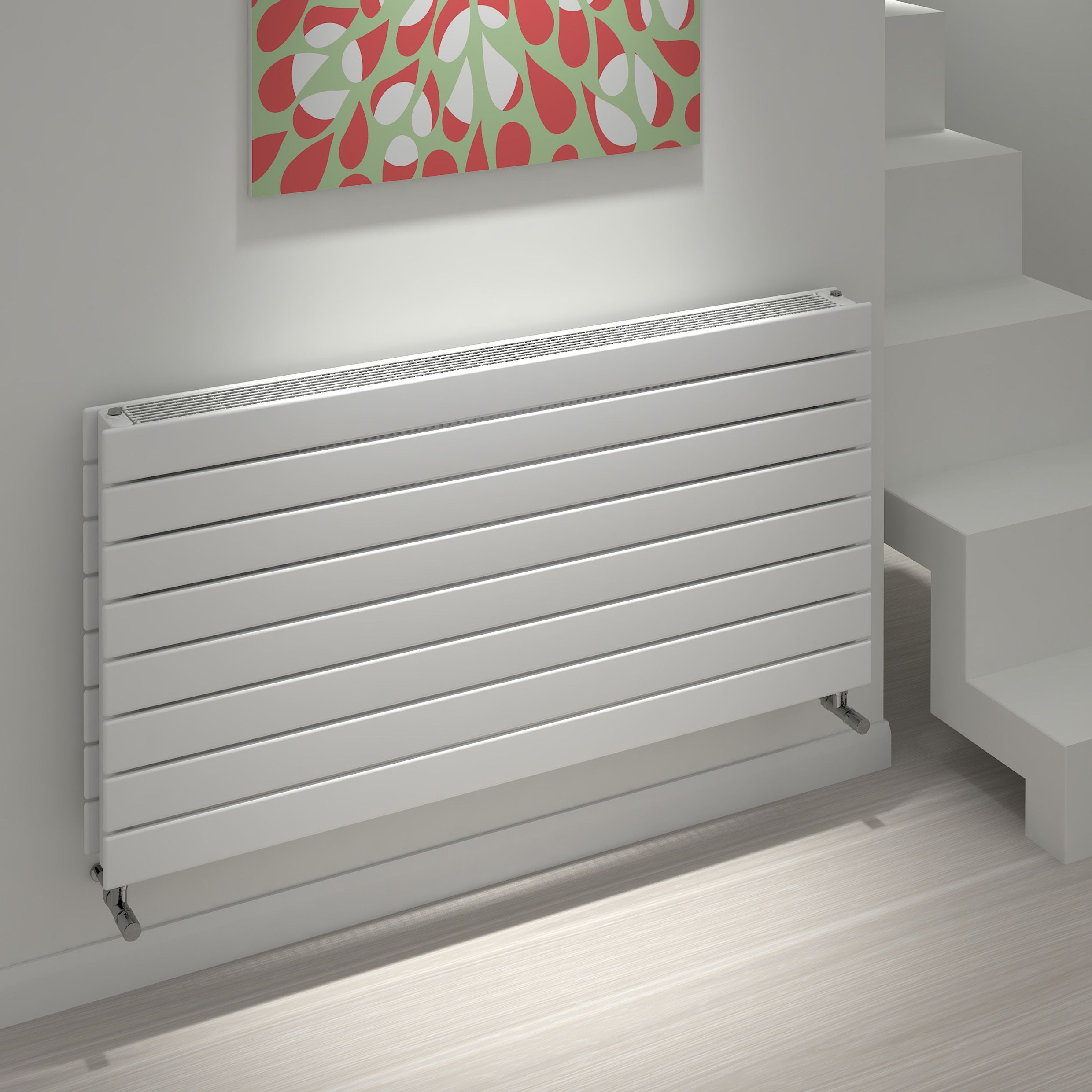 Kudox Tira Horizontal Radiator White, (H)588 mm (W)1200