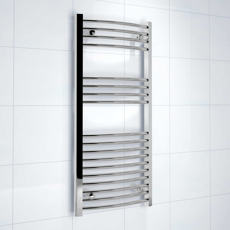 kudox silver towel warmer h 1000mm w 450mm departments. Black Bedroom Furniture Sets. Home Design Ideas