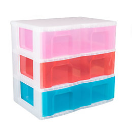 Really Useful Blue, Pink & Red Plastic Drawer