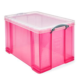 Really Useful Pink 84L Plastic Storage Box