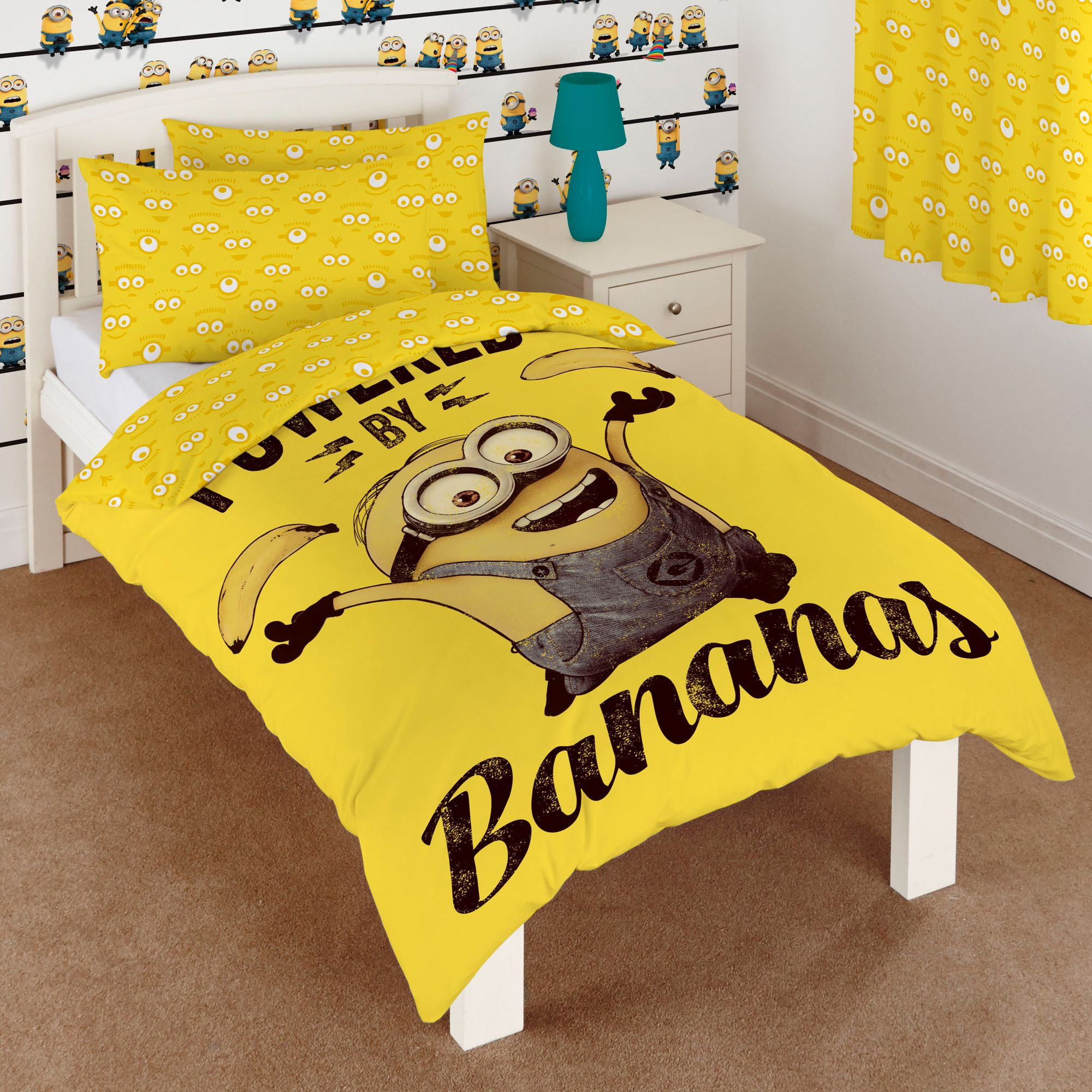 Minion Wallpaper For Bedroom Minions Yellow Single Duvet Set Departments Diy At Bq
