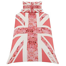 Union Jack Flower Pink Single Duvet Set
