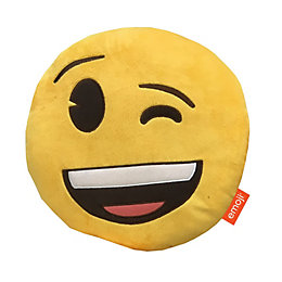 Emoji Winking Face Yellow Cushion