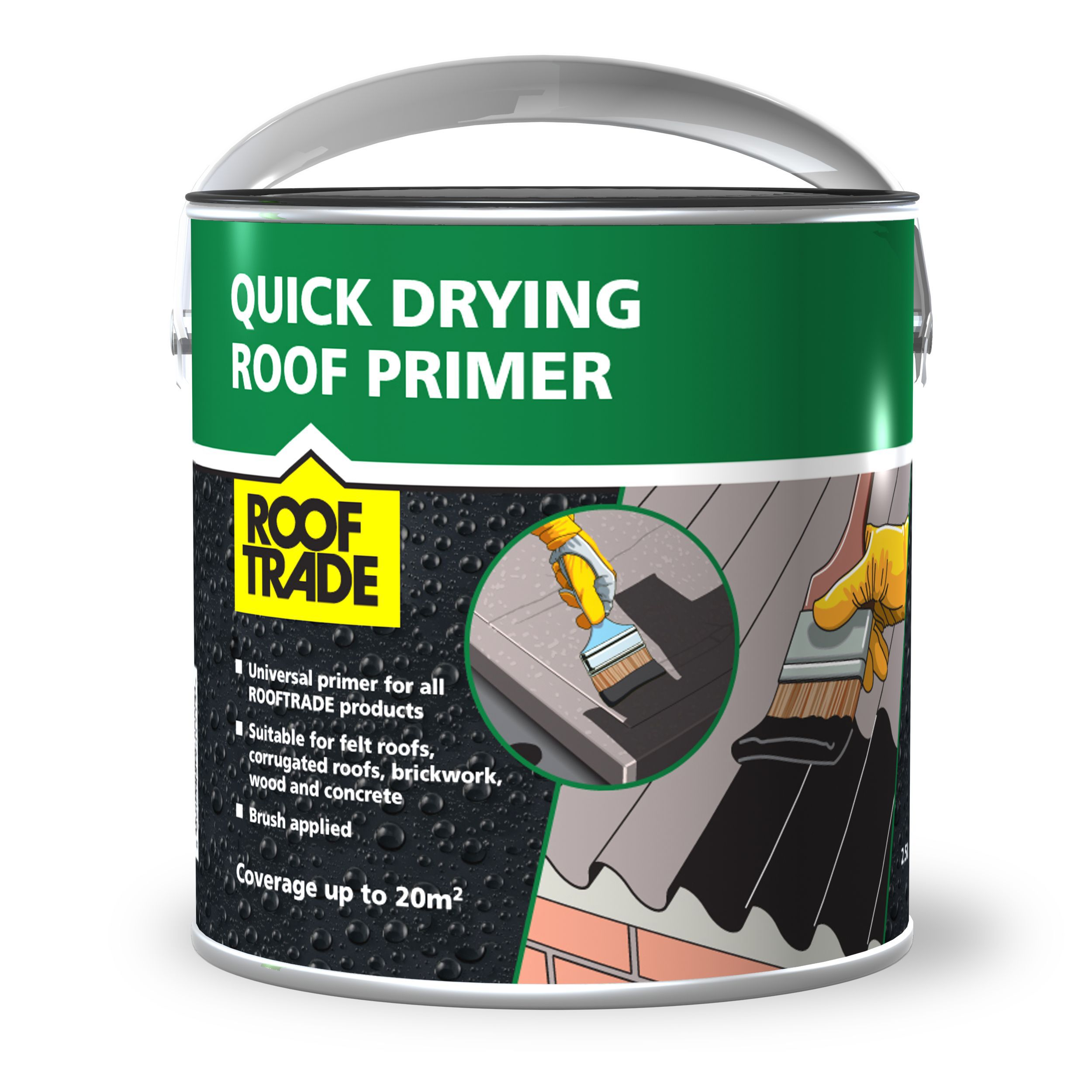 Rooftrade Black Quick Drying Bitumen Roof Primer 2 5l