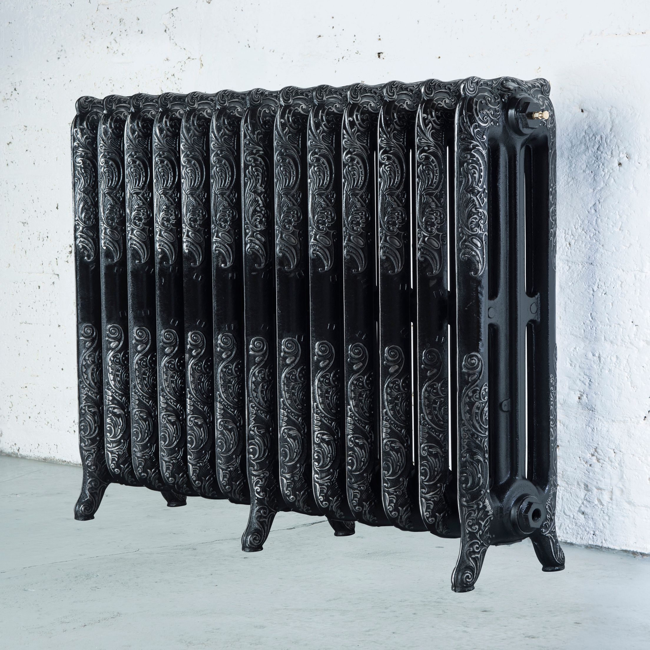 Arroll Montmartre 3 Column Radiator, Black with Silver