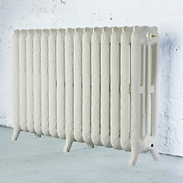 Arroll Montmartre 3 Column Radiator, Cream (W)1234mm (H)760mm