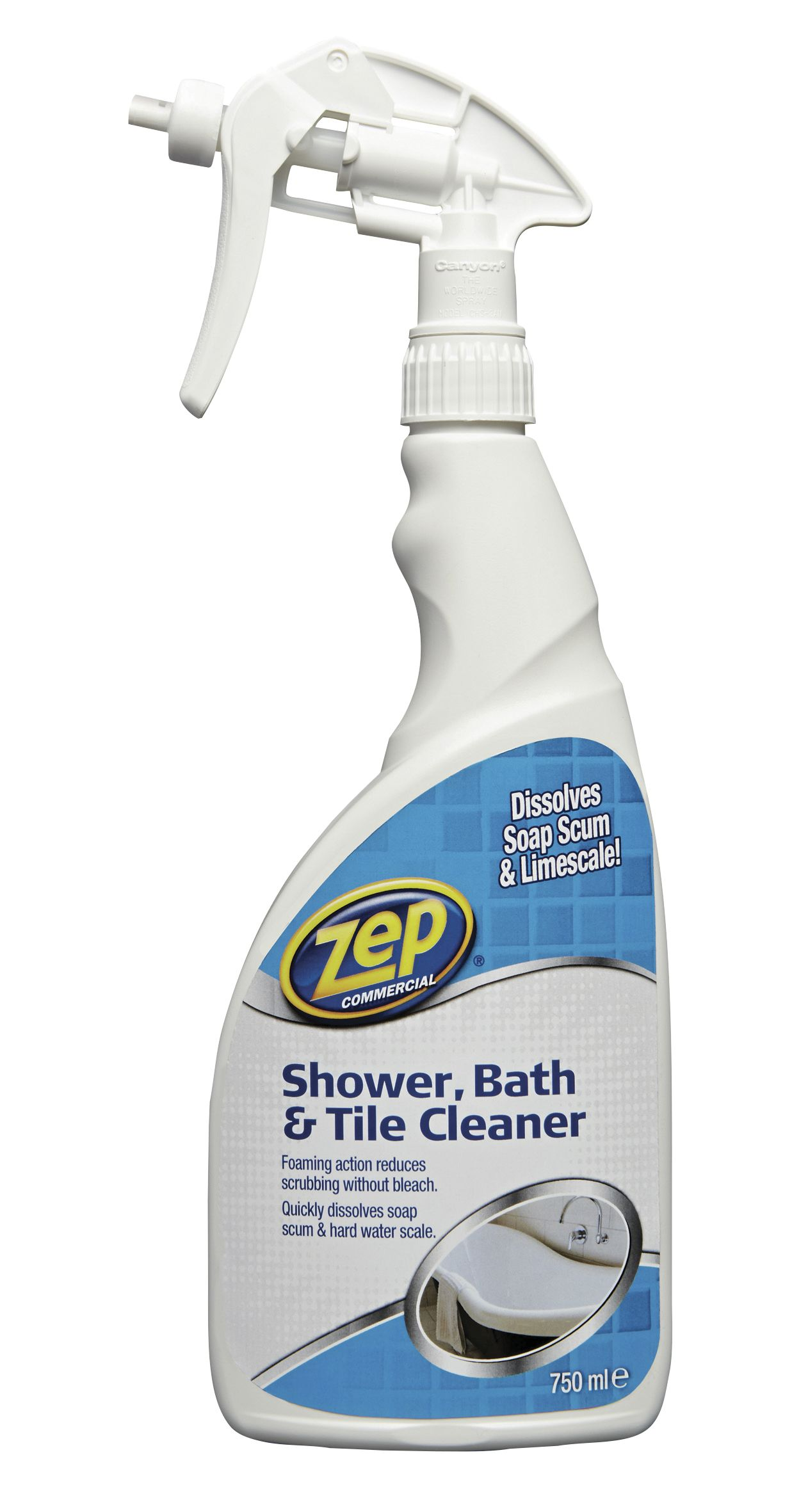 Zep commercial shower bathroom tile cleaner spray 750 ml departments diy at b q for Homemade bathroom tile cleaner