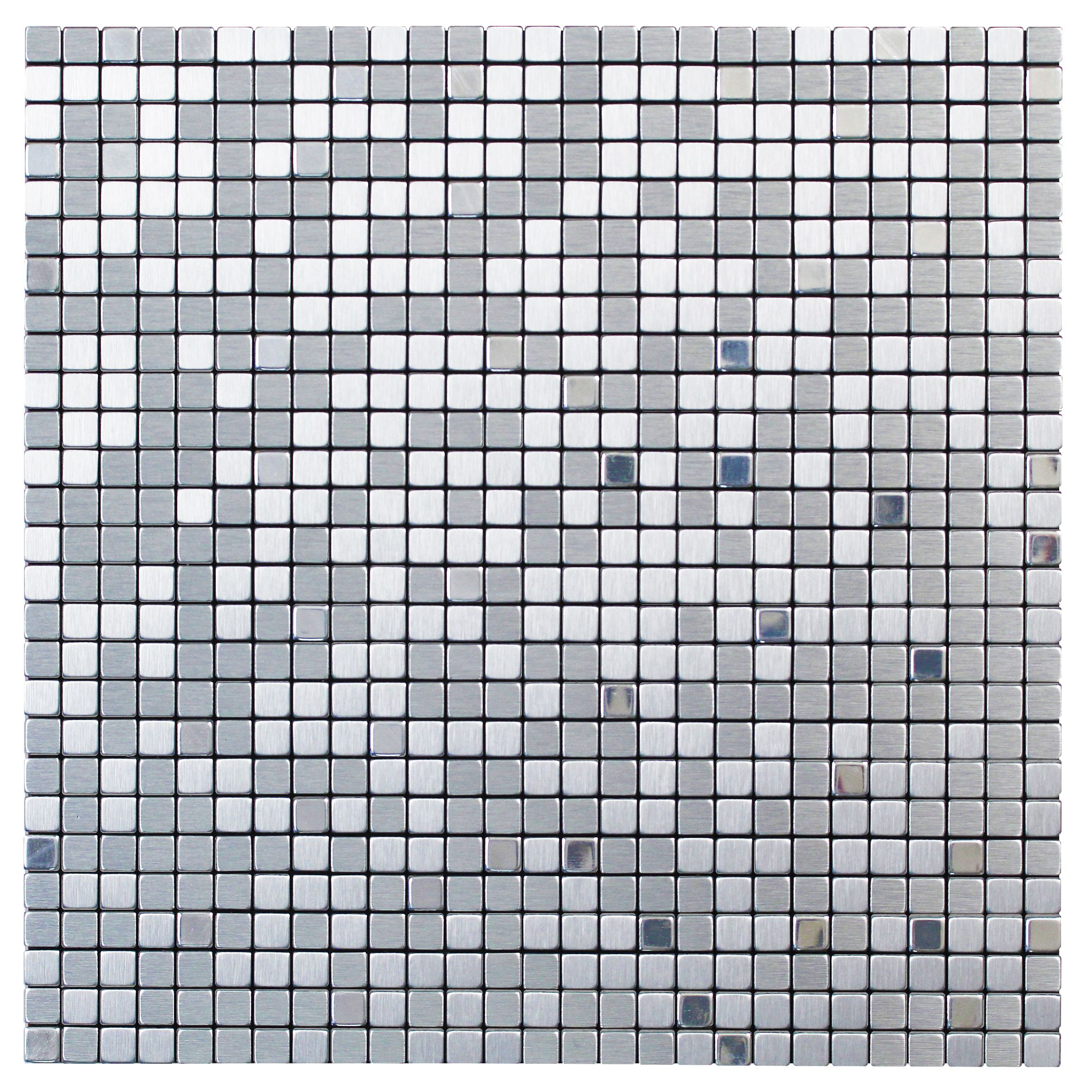Abu Dhabi Silver Effect Brushed Metal Self-adhesive Metal Mosaic Tile, (l)300mm (w)300mm