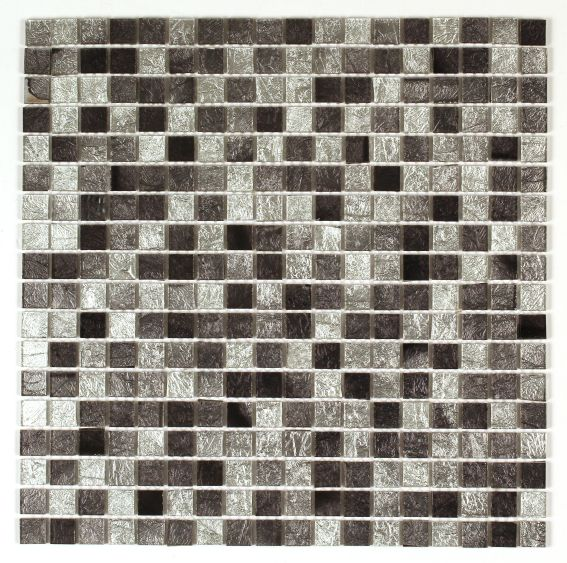 Bruges Silver Foil Effect Glass Mosaic Tile, (l)300mm (w)300mm