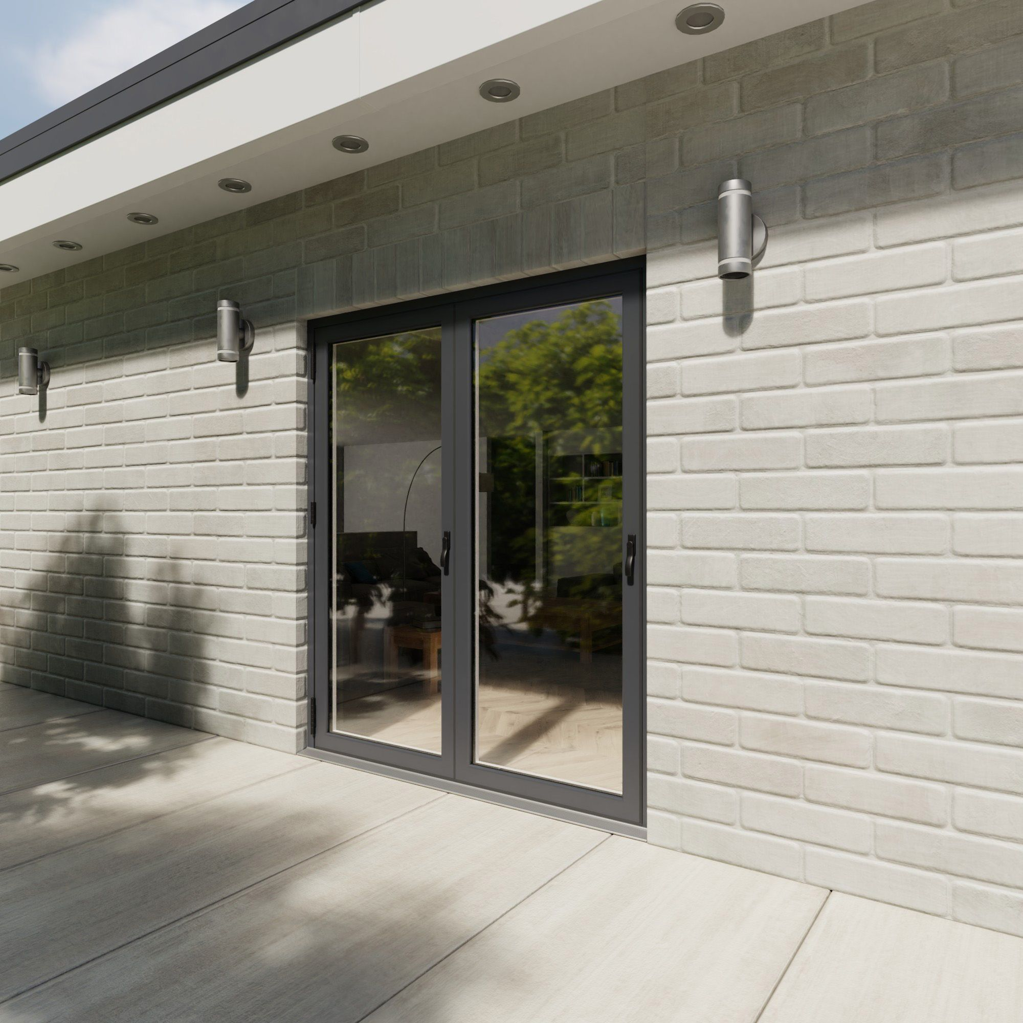 Crystal Grey/white Pvcu & Aluminium Glazed Patio Bi Folding Door, (h)2104mm (w)1804mm