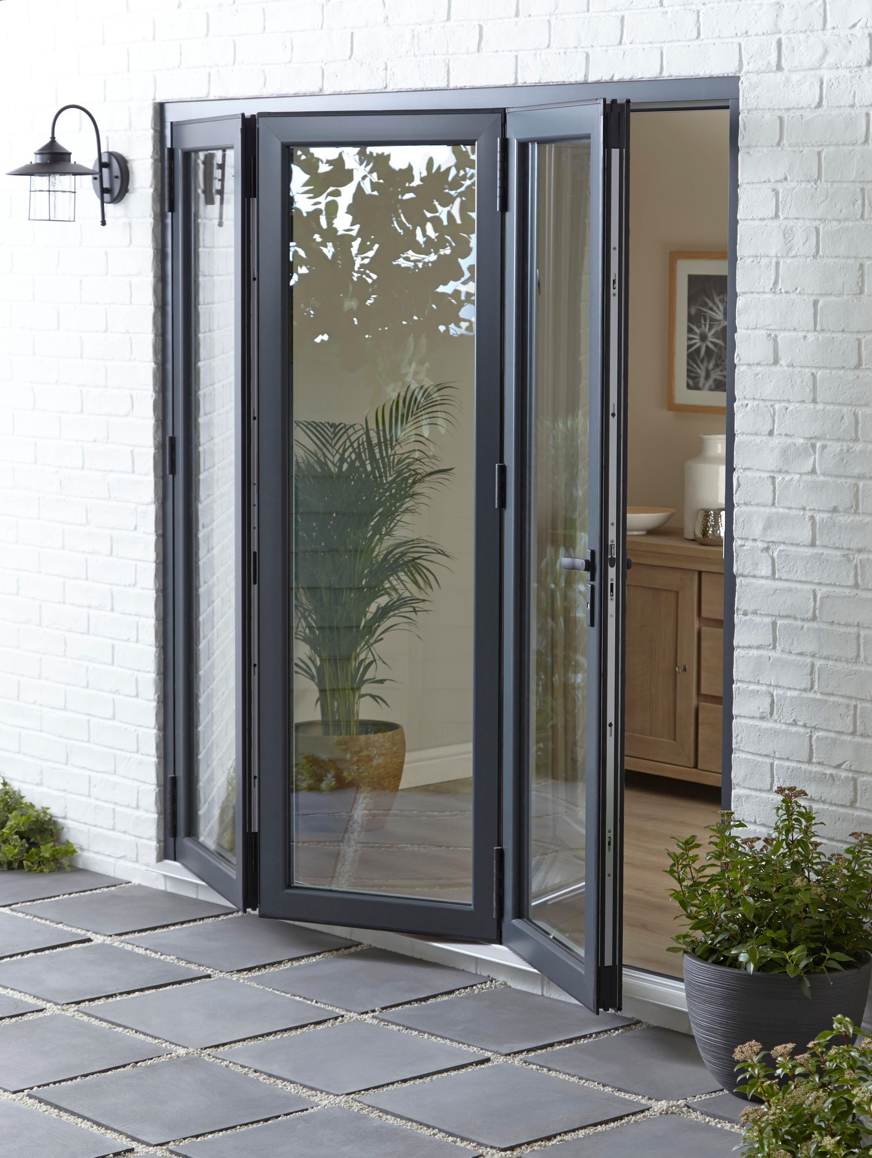 Crystal Grey/white Pvcu & Aluminium Glazed Patio Bi Folding Door, (h)2104mm (w)2104mm