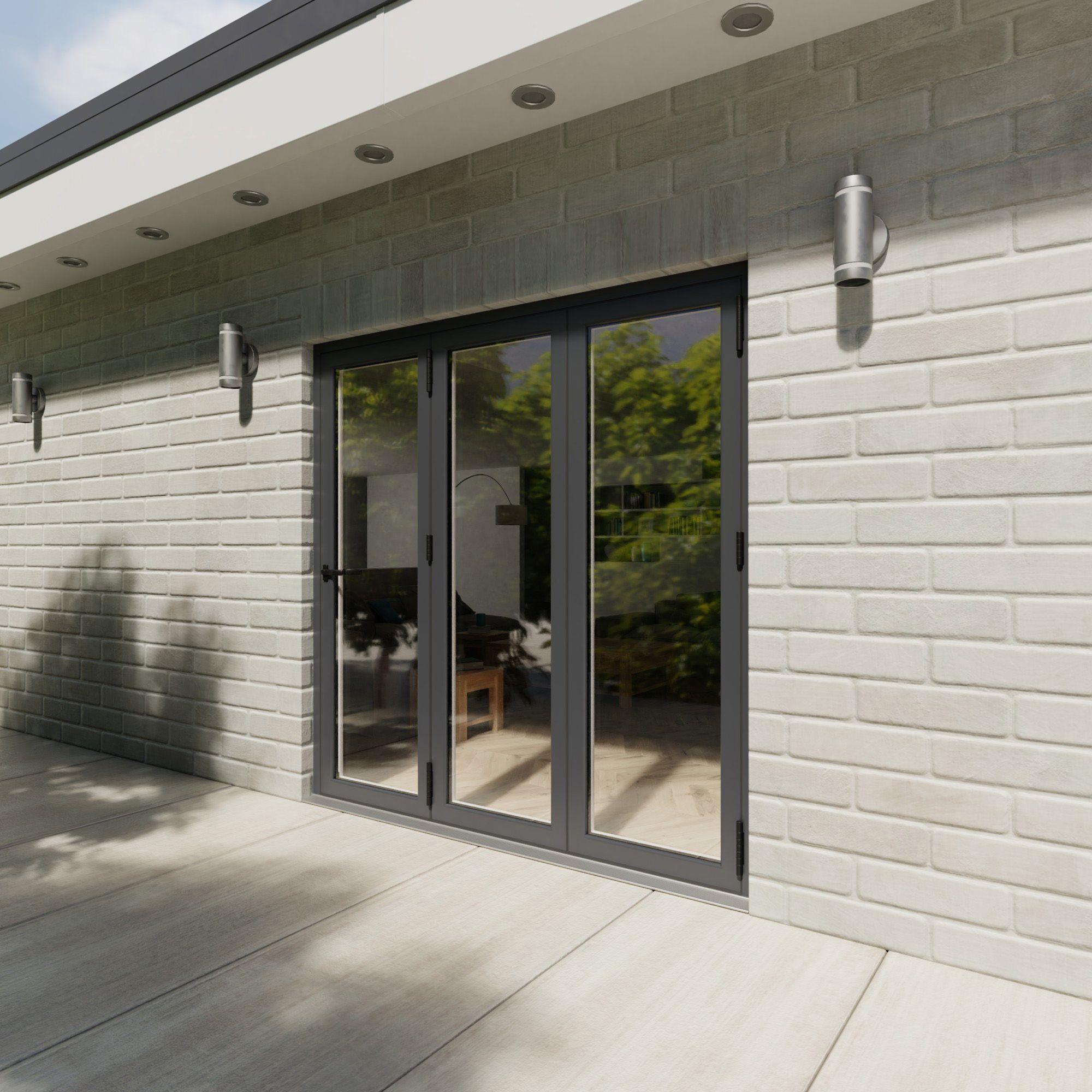 Crystal Grey Pvcu & Aluminium Glazed Patio Bi Folding Door, (h)2104mm (w)2104mm
