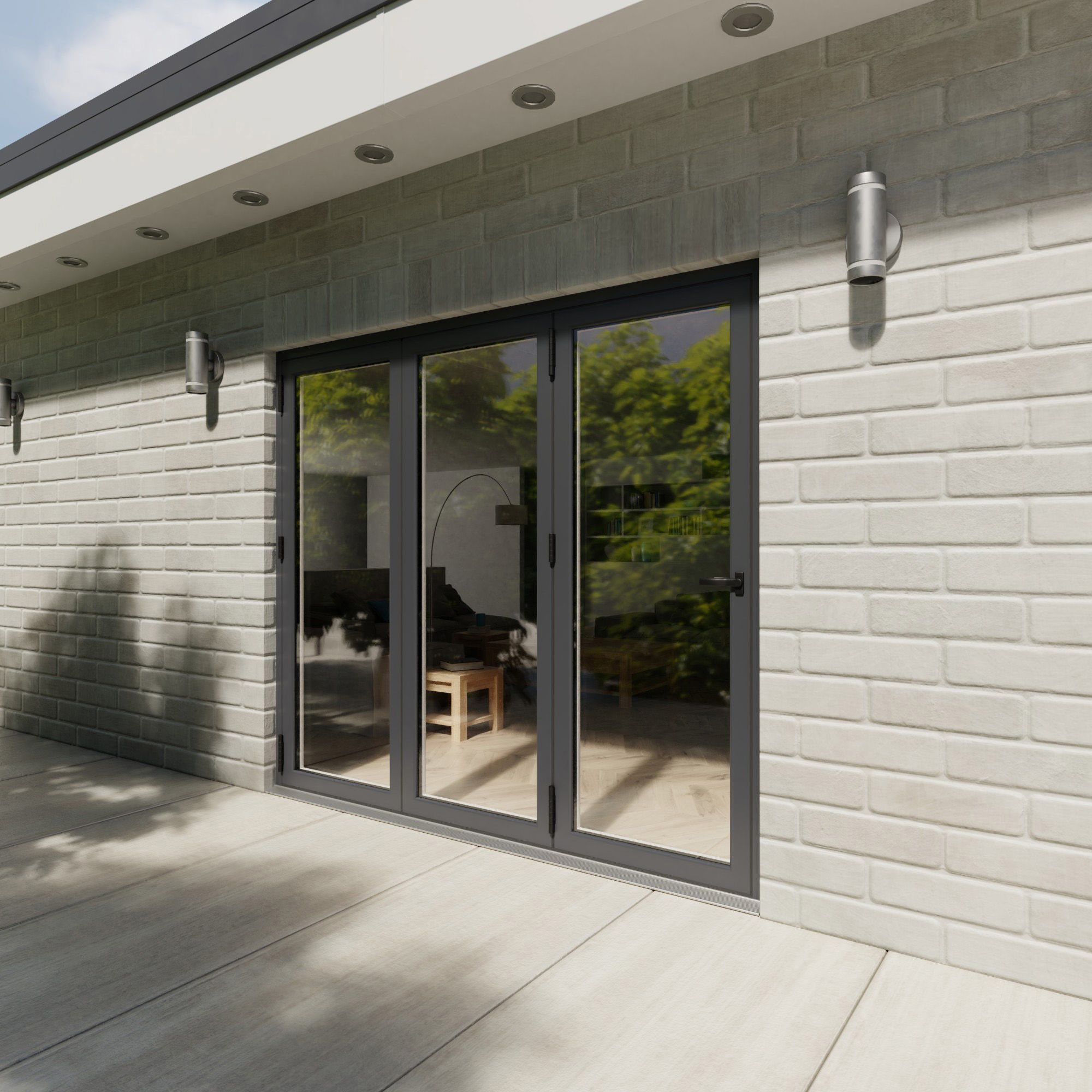 Crystal Grey Pvcu & Aluminium Glazed Patio Bi Folding Door, (h)2104mm (w)2404mm