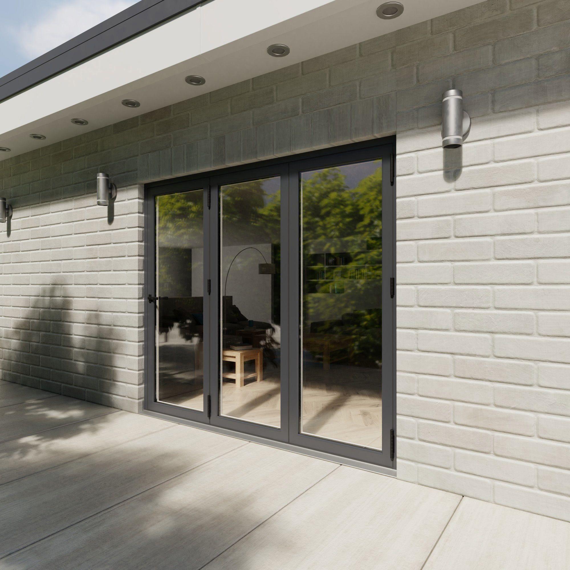 Crystal Grey/white Pvcu & Aluminium Glazed Patio Bi Folding Door, (h)2104mm (w)2404mm