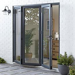 Crystal Grey/White PVCu & Aluminium Glazed Bi Folding
