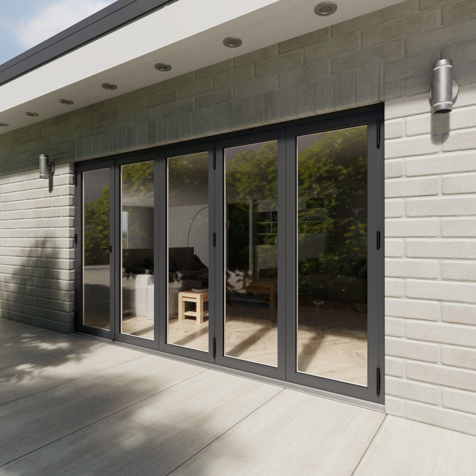 Crystal Grey Pvcu & Aluminium Glazed Patio Bi Folding Door, (h)2104mm (w)3604mm