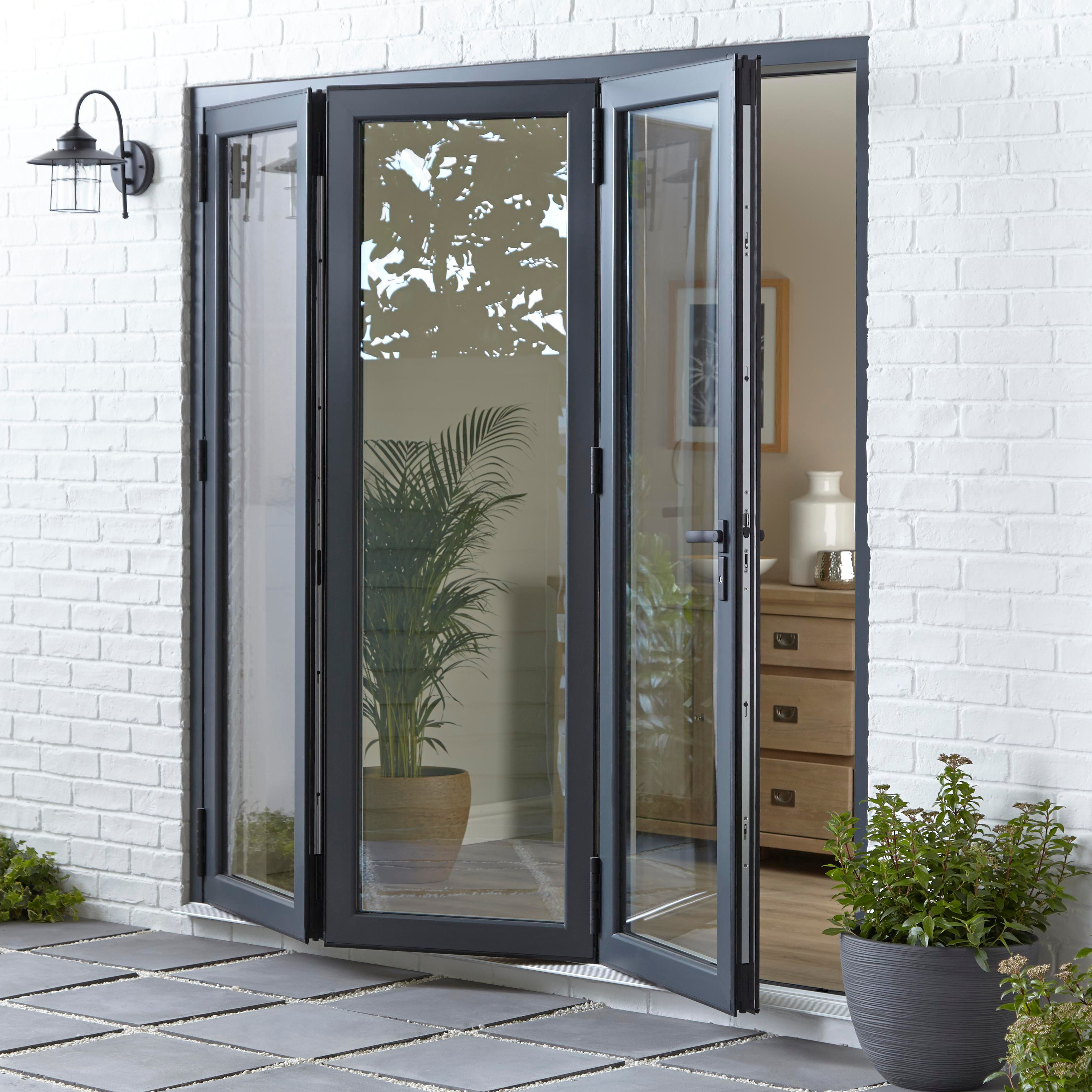 Crystal Grey/white Pvcu & Aluminium Glazed Patio Bi Folding Door, (h)2104mm (w)3604mm