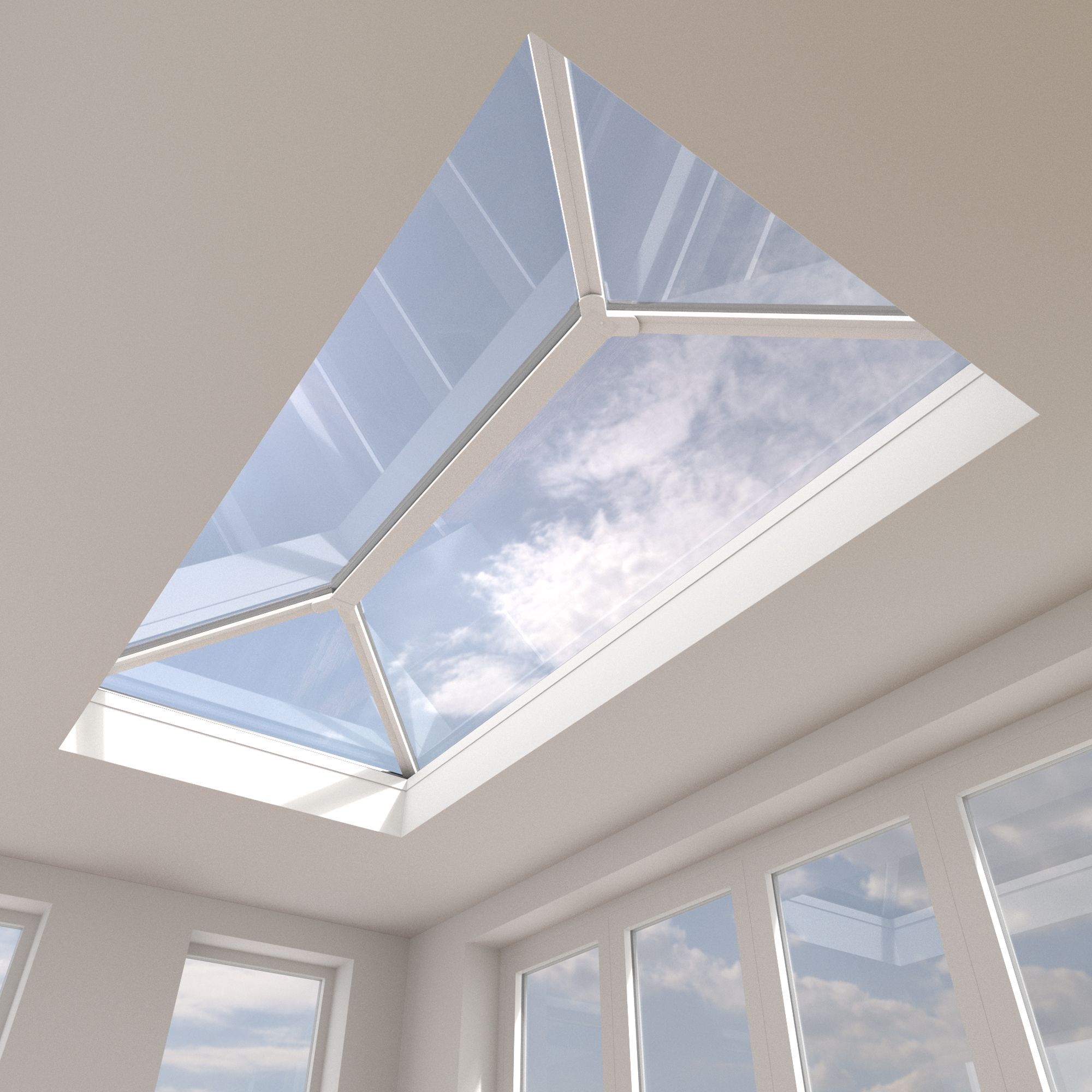 Crystal Contemporary Aluminium & Pvc Fixed Roof Lantern (h)360mm (w)1000mm (l)1500mm