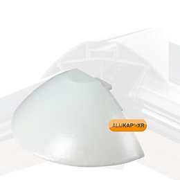 Alukap White Ridge Radius End Cap, (H)85mm (W)180mm