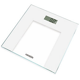 Hanson White Slim Glass Electronic Bathroom Scale