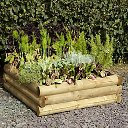 B&Q Mixed Softwood Log Raised Bench (H)300mm (W)960mm