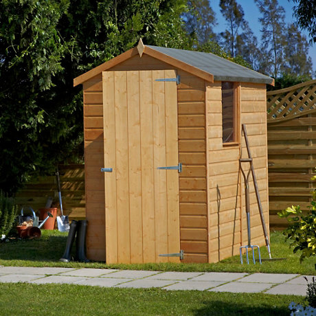 Wooden shed in garden