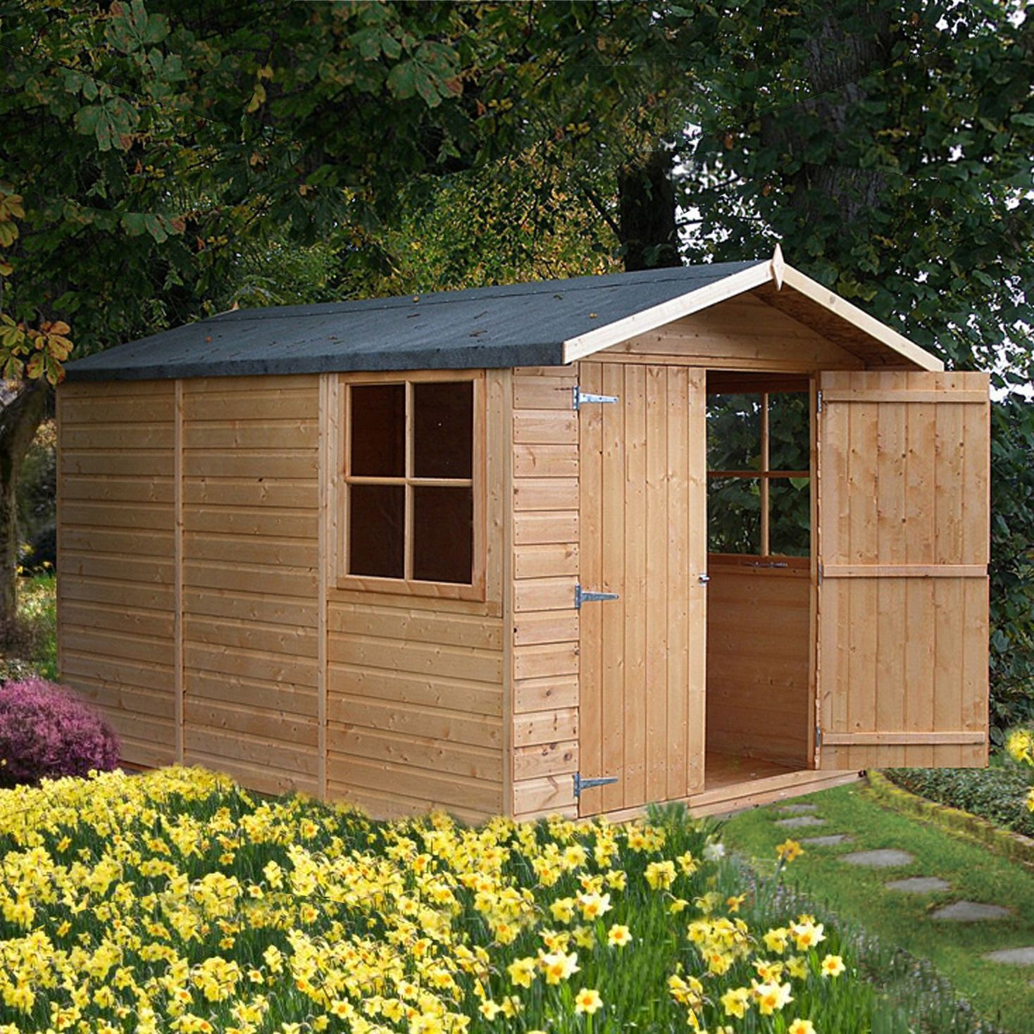 10x7 Guernsey Apex Shiplap Wooden Shed With Assembly Service